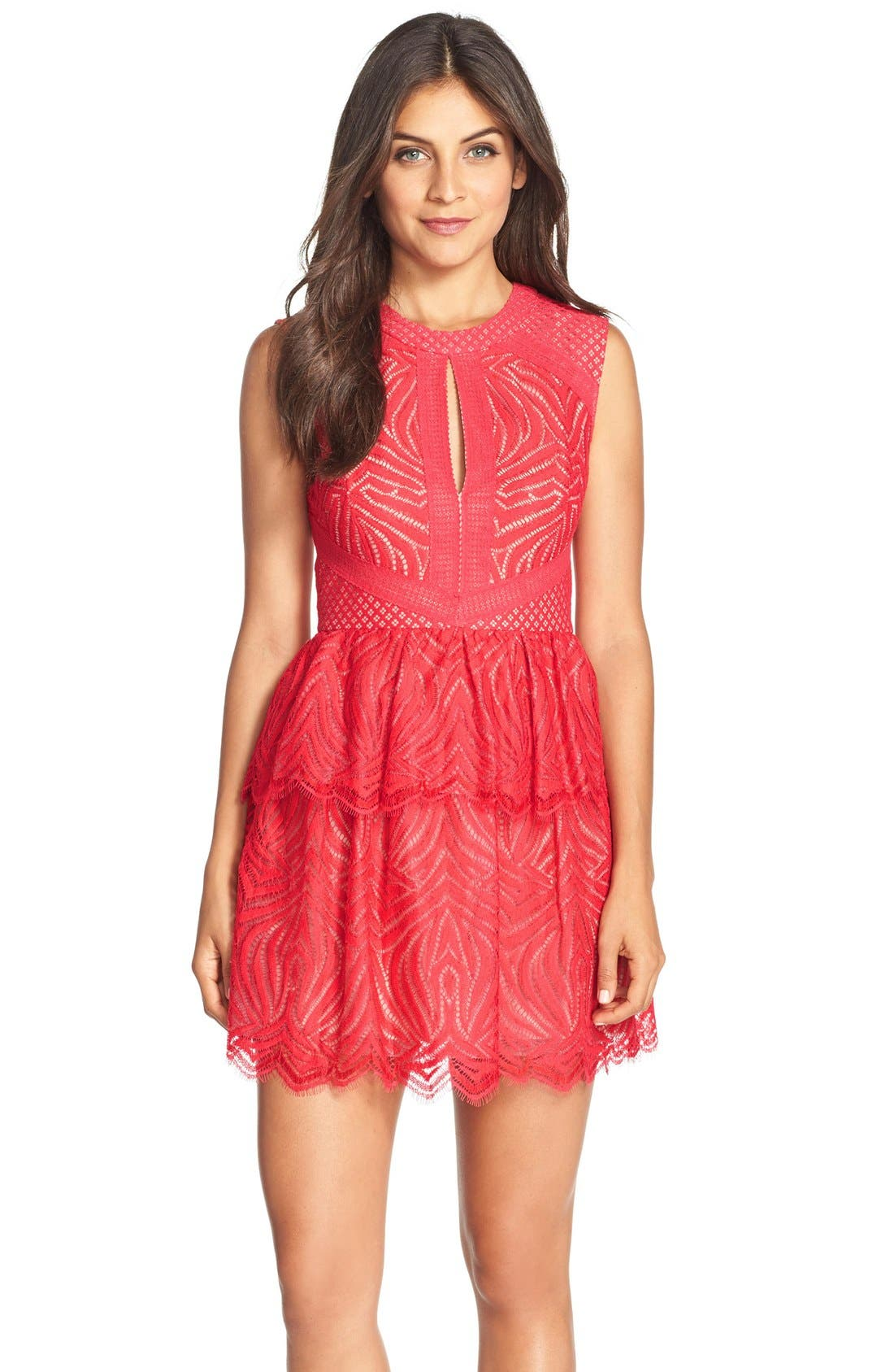 Main Image - BCBGMAXAZRIA 'Micaila' Tiered Skirt Lace Fit & Flare Dress