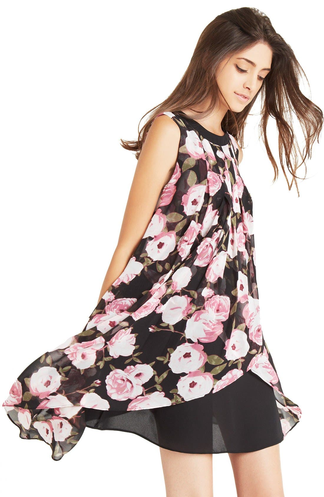 Main Image - BCBGeneration Asymmetrical Tiered Floral Crepe Shift Dress