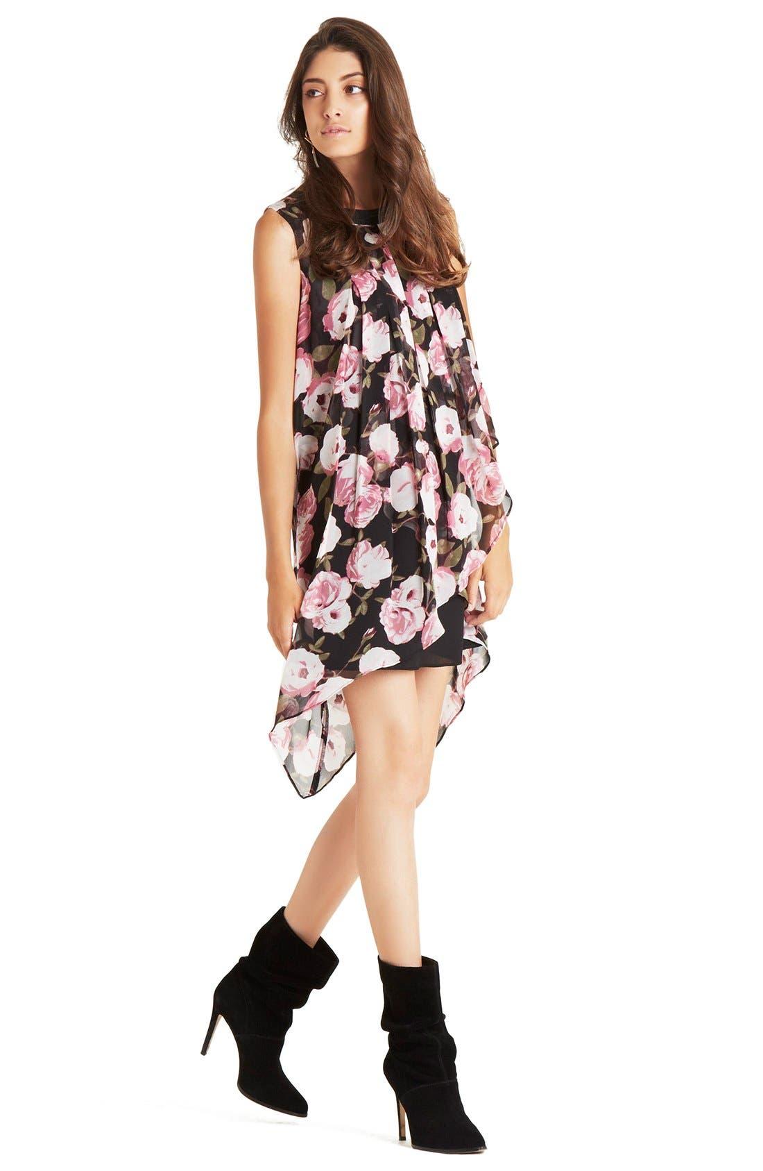 Alternate Image 4  - BCBGeneration Asymmetrical Tiered Floral Crepe Shift Dress