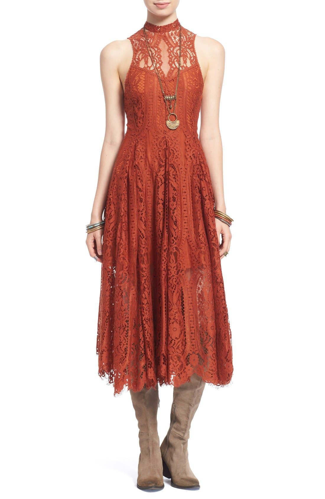 Alternate Image 1 Selected - Free People 'Angel Rays' Trapeze Midi Dress