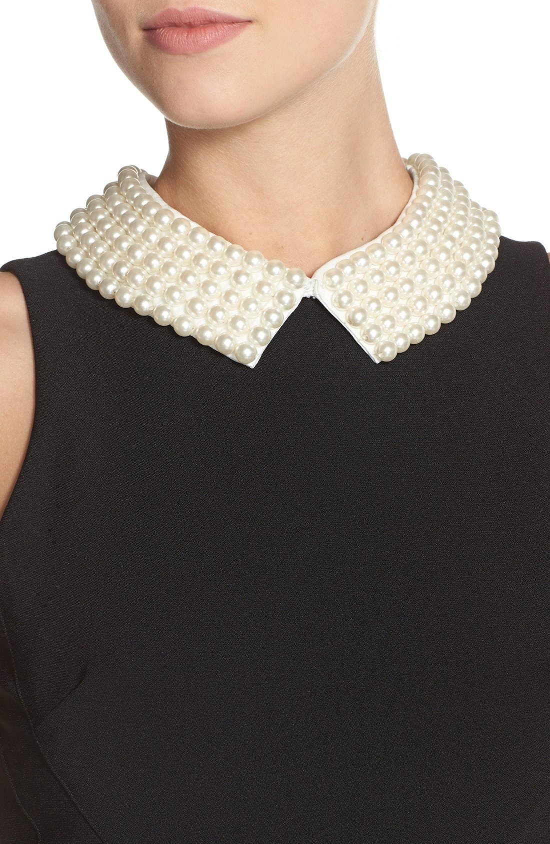 Alternate Image 4  - Maggy London Pearl Collar Crepe Sheath Dress (Petite)
