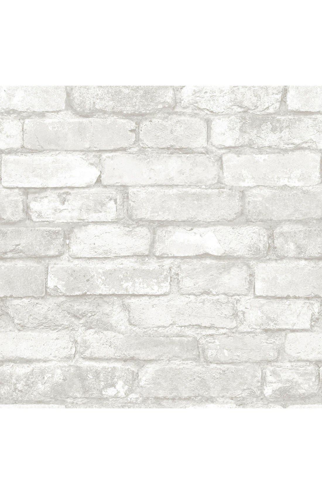 Main Image - Wallpops 'Grey & White Brick' Reusable Peel & Stick Vinyl Wallpaper