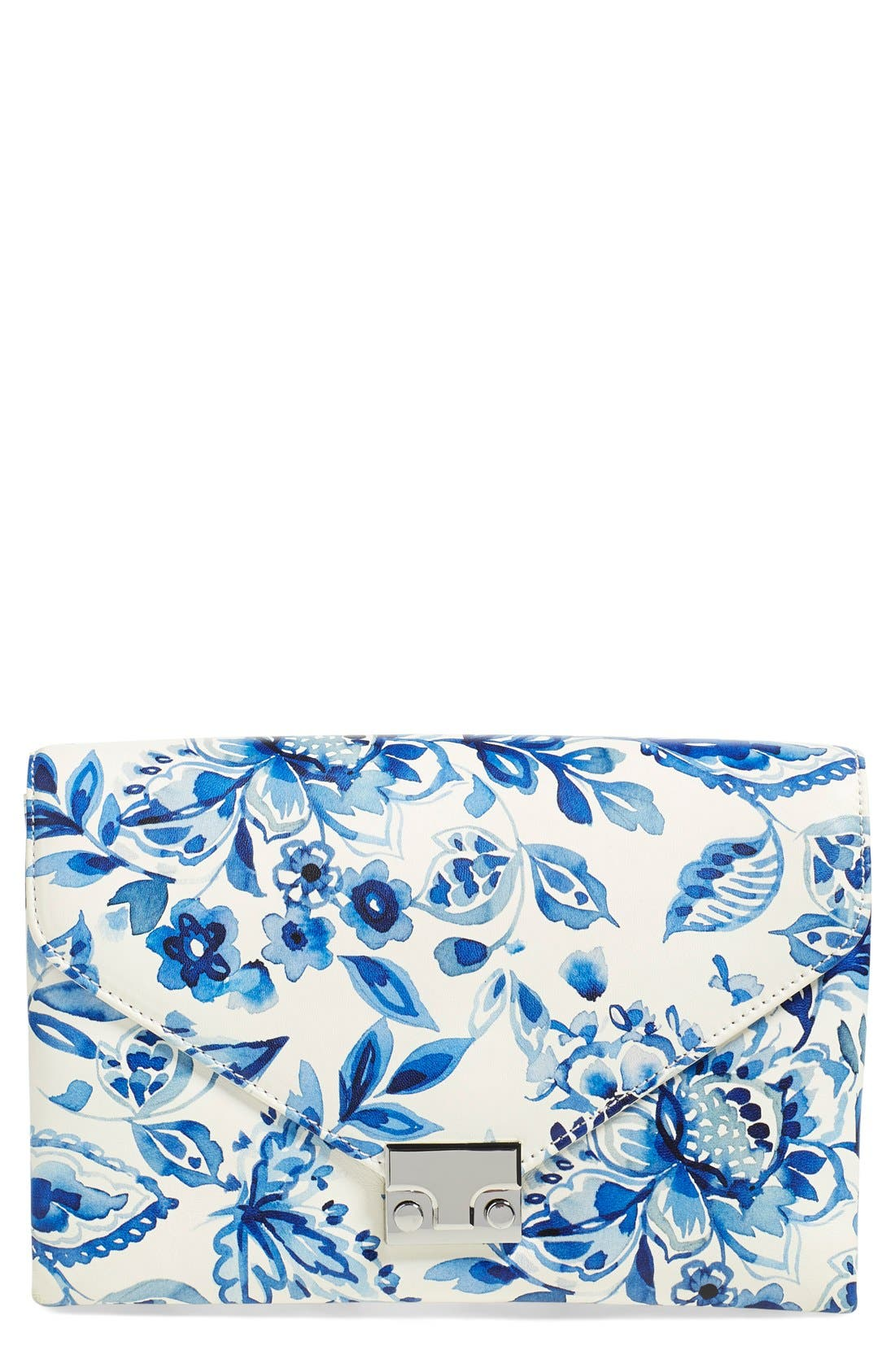 Alternate Image 1 Selected - Loeffler Randall 'Lock' Floral Print Leather Clutch