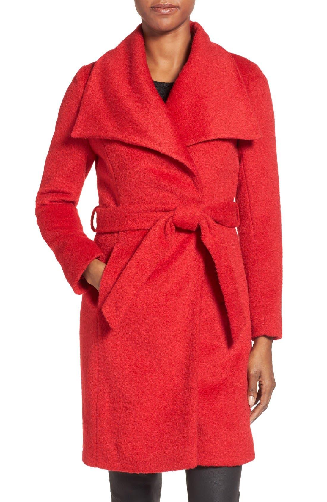 Alternate Image 1 Selected - T Tahari 'Mia' Brushed Wool Blend Wrap Coat