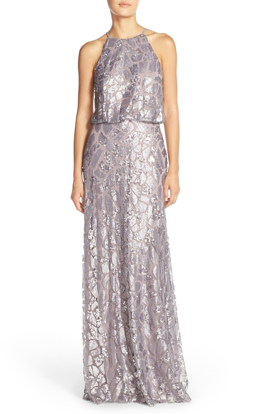 Main Image - Donna Morgan 'Tiffany' Sequin Halter-Style Blouson Gown