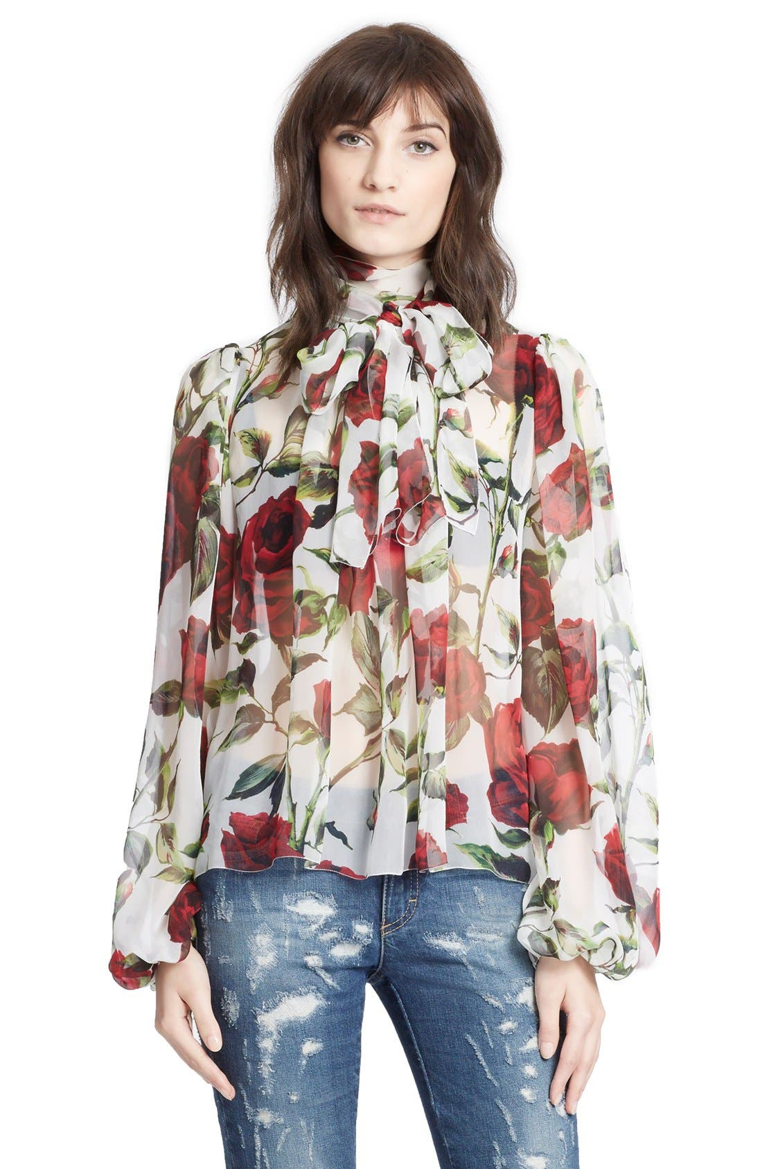 Alternate Image 1 Selected - Dolce&Gabbana Tie Neck Rose Print Chiffon Blouse