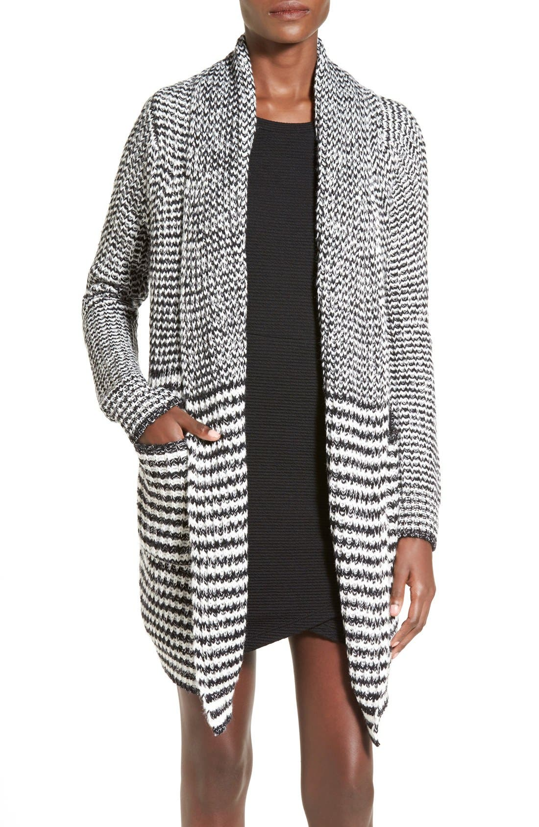 Main Image - Woven Heart Stripe Long Cardigan