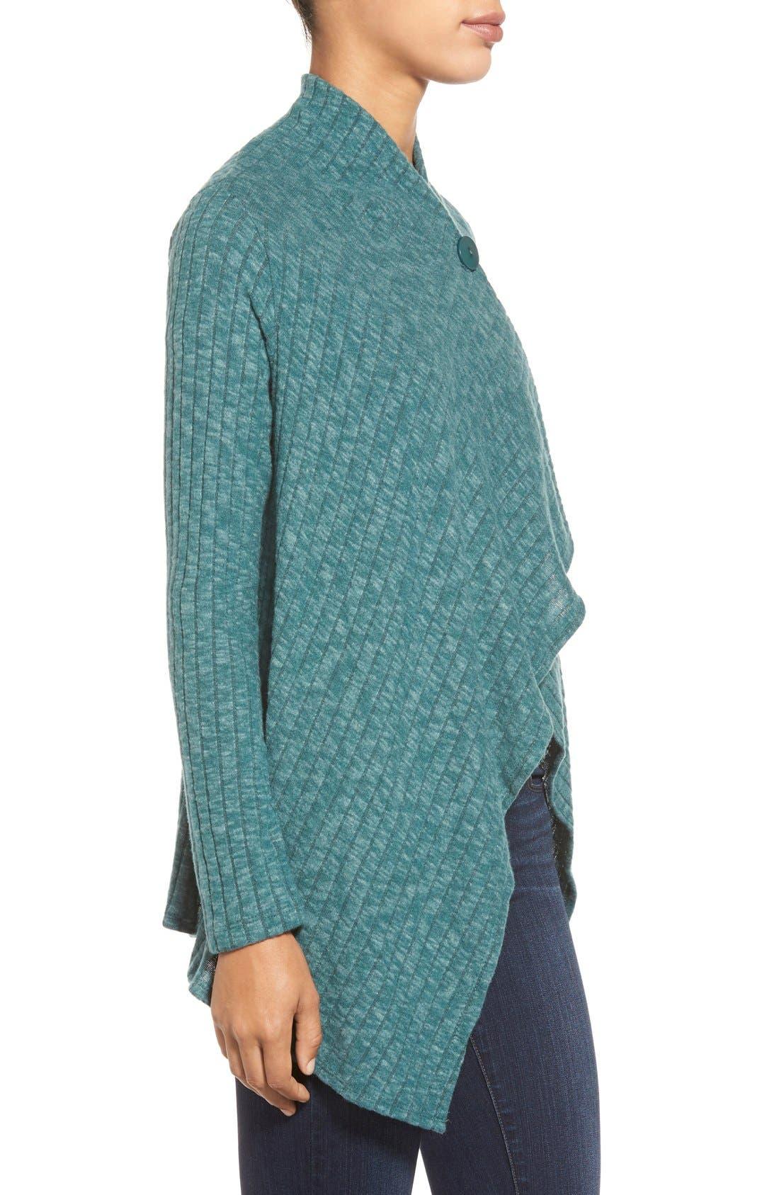 Alternate Image 3  - Bobeau One-Button Fuzzy Fleece Wrap Cardigan (Regular & Petite)
