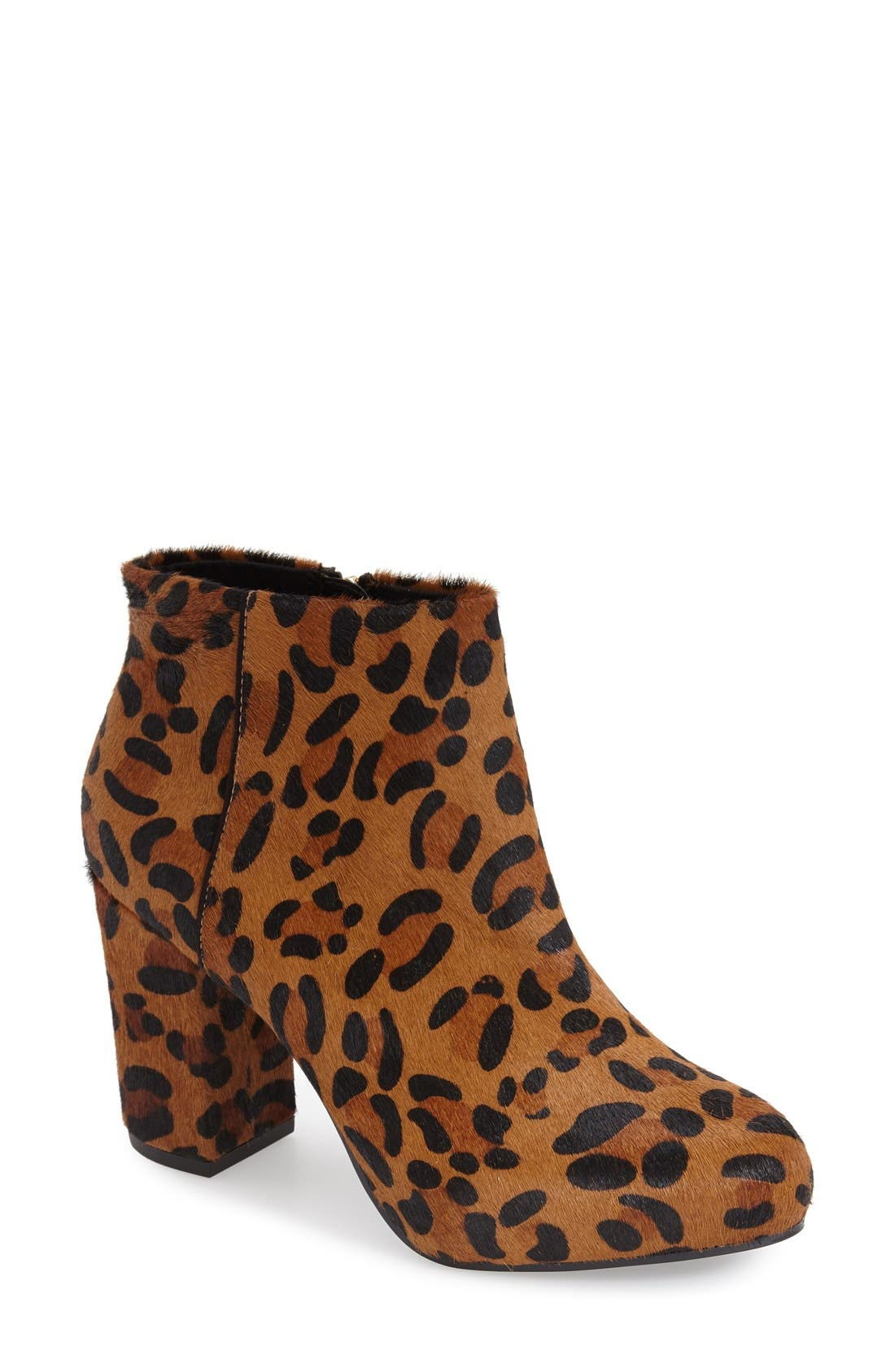 Alternate Image 1 Selected - Topshop 'Miles Inside' Leopard Print Genuine Calf Hair Platform Bootie (Women)