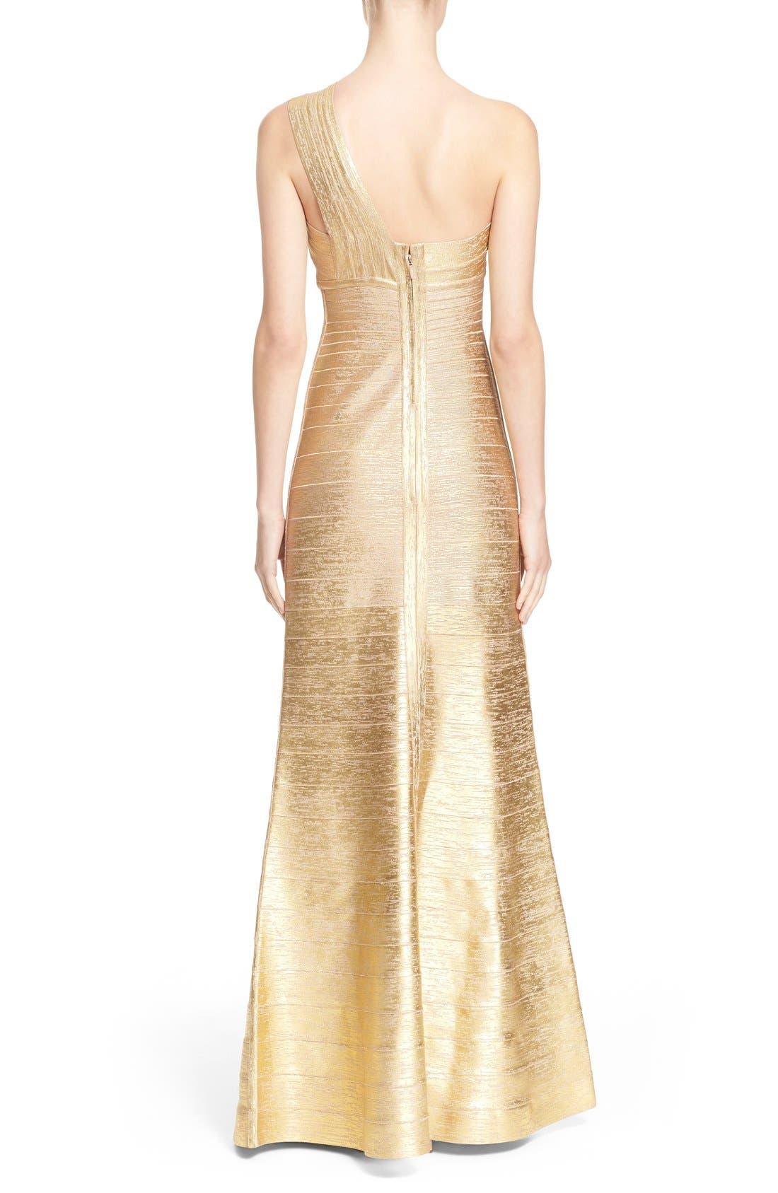 Alternate Image 2  - Herve Leger 'Lilyanna' One-Shoulder Woodgrain Metallic Gown