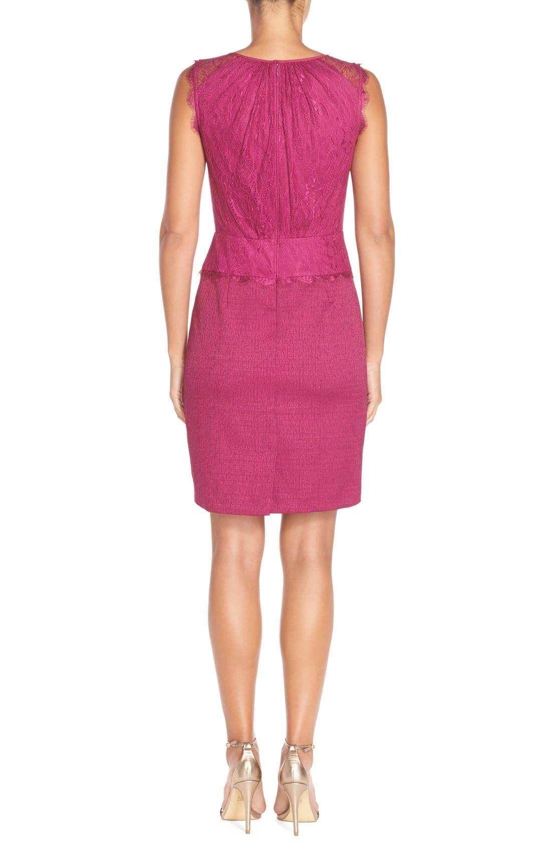 Alternate Image 2  - Adrianna Papell Lace & Jacquard Blouson Dress (Regular & Petite)