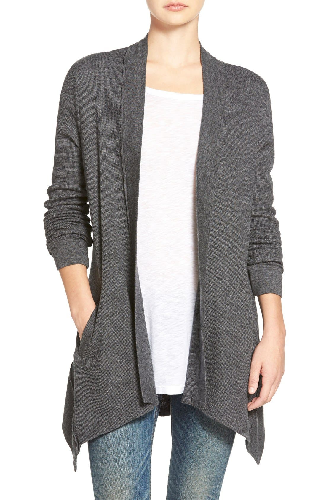 Alternate Image 1 Selected - Splendid Waffle Knit Open Front Cardigan