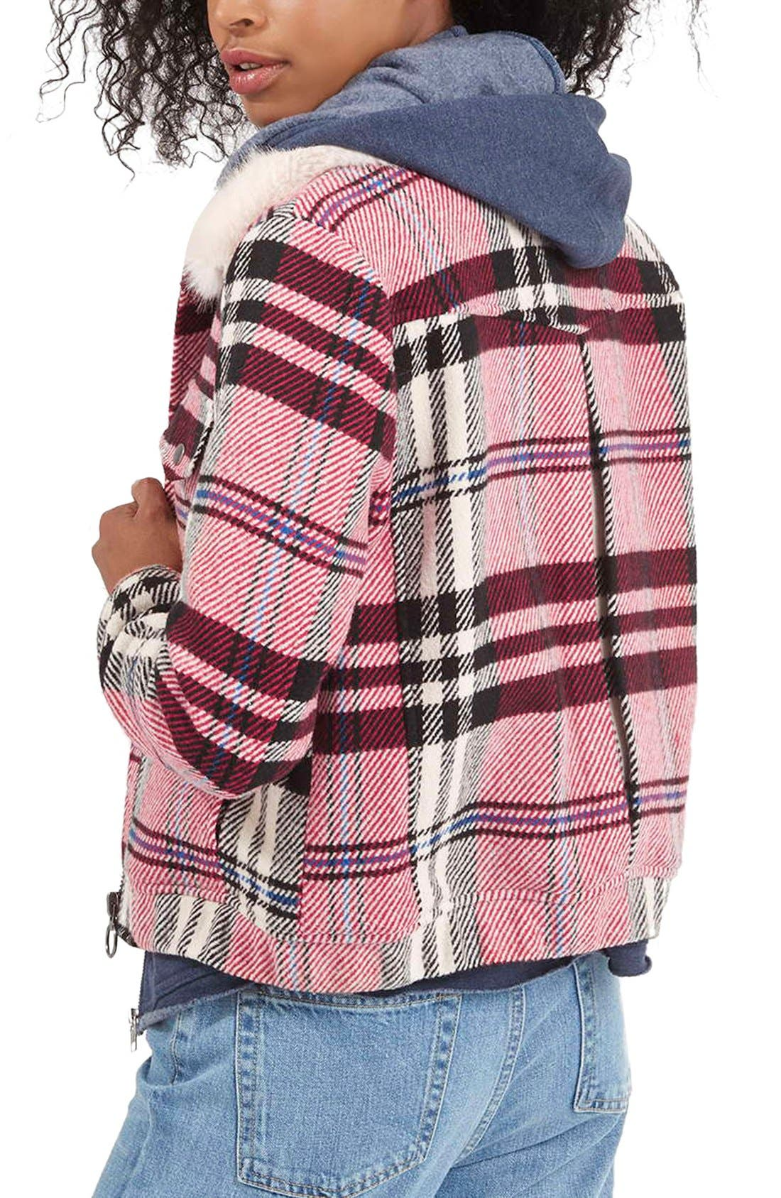 Alternate Image 3  - Topshop Check Bomber with Faux Fur Collar