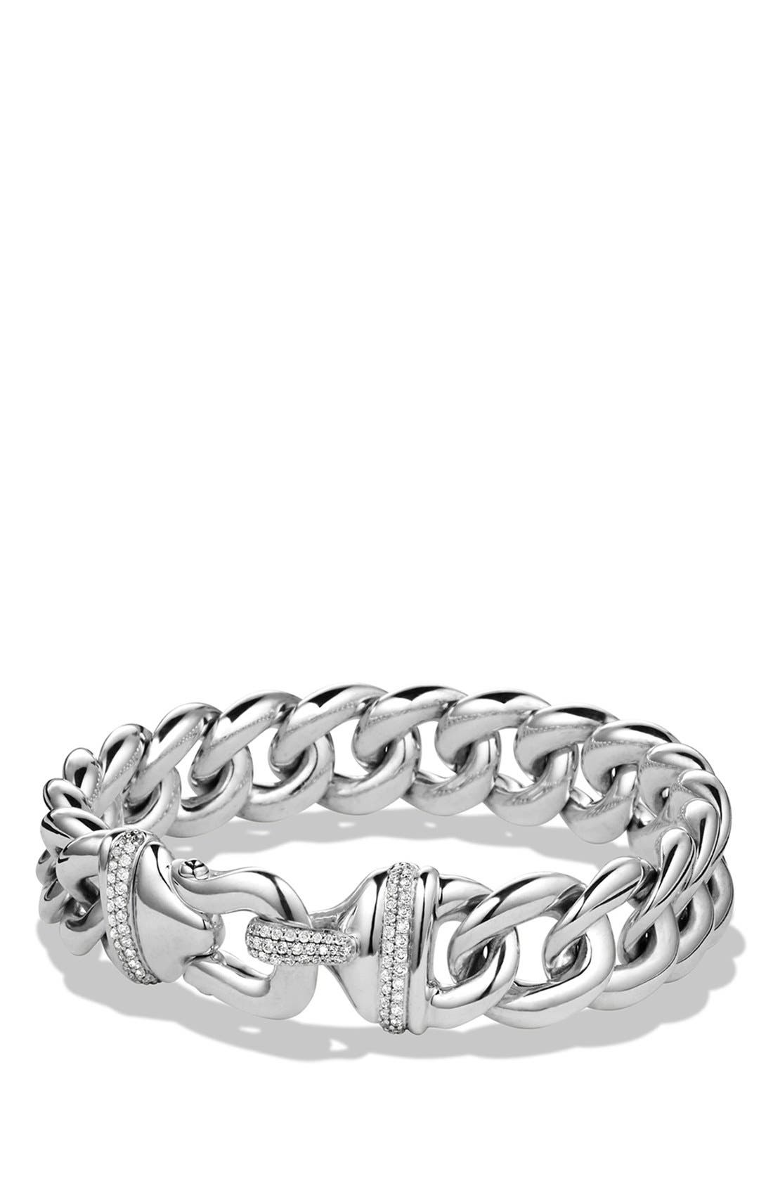 DAVID YURMAN 'Cable Buckle' Single-Row Bracelet with Diamonds