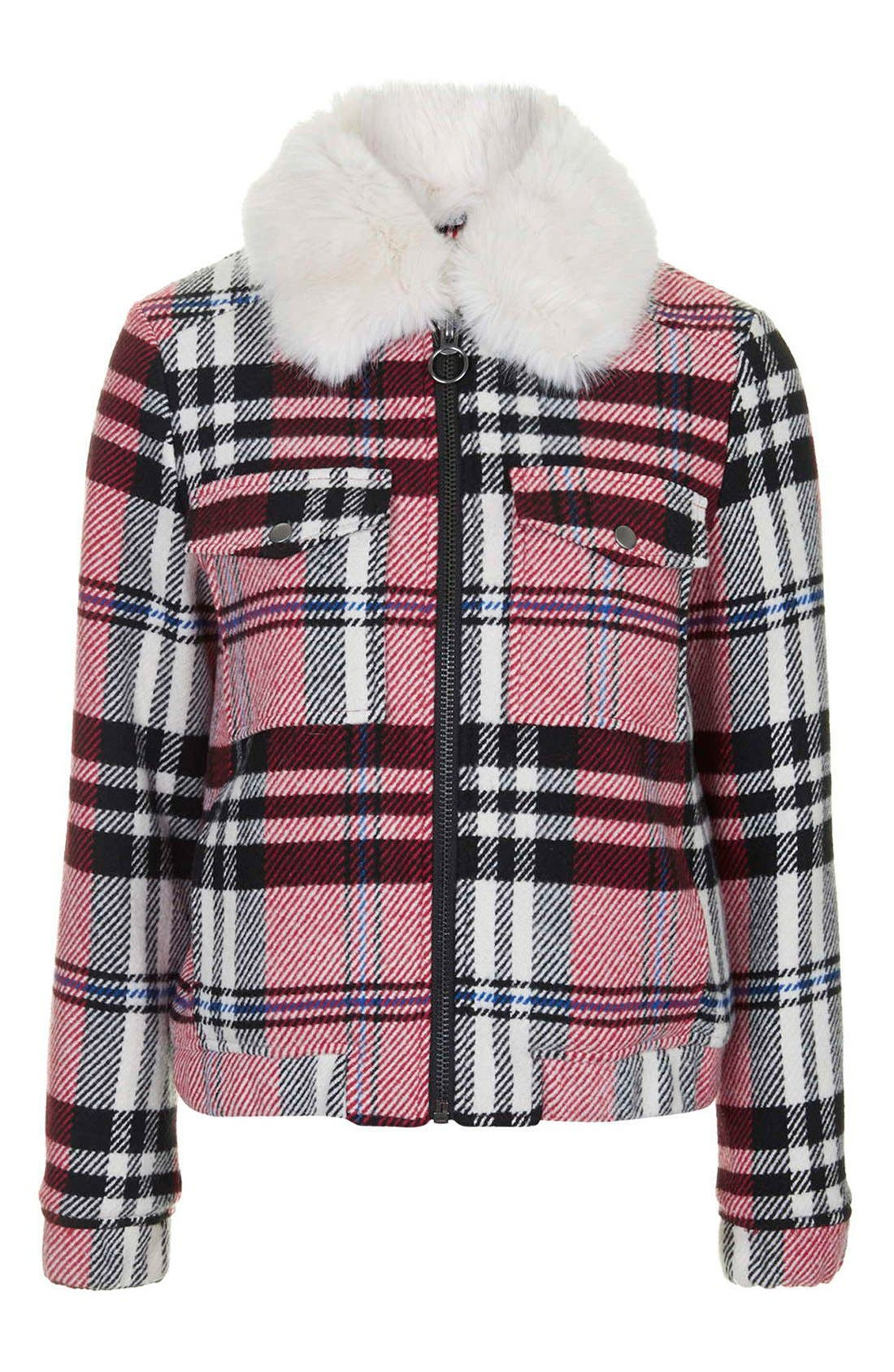 Alternate Image 4  - Topshop Check Bomber with Faux Fur Collar