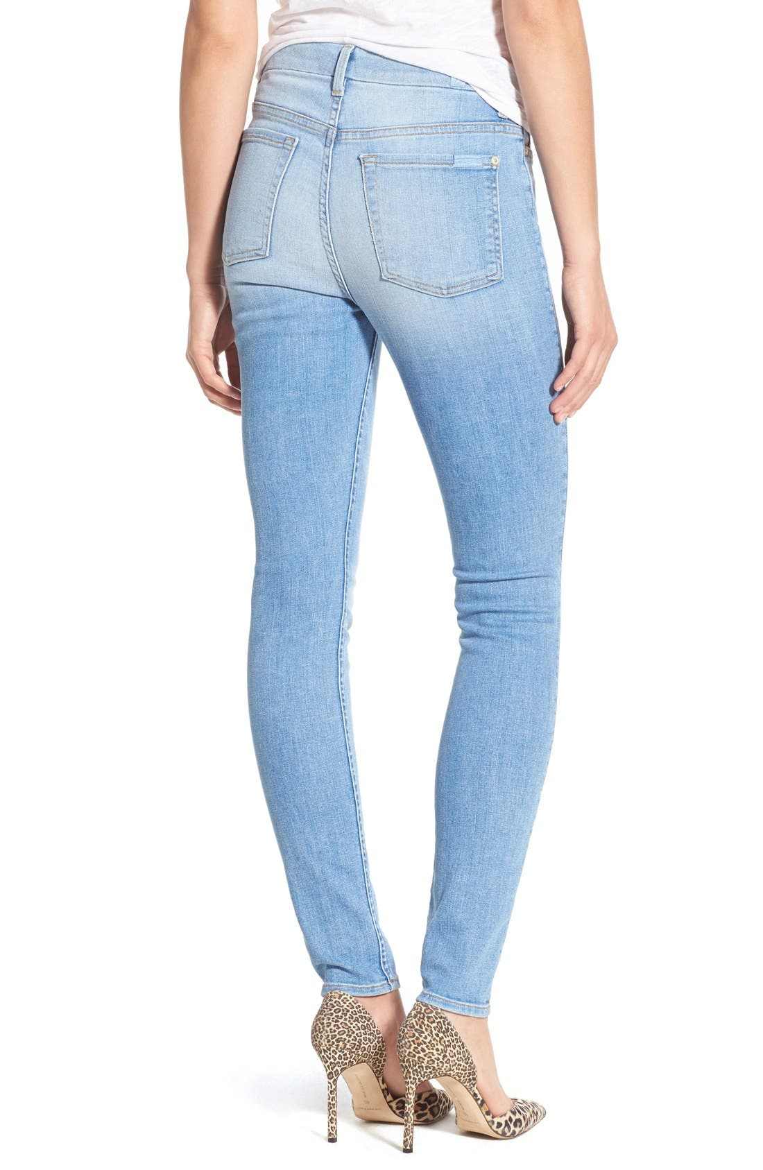 Alternate Image 2  - 7 For All Mankind® High Rise Skinny Jeans (Mediterranean Sky)