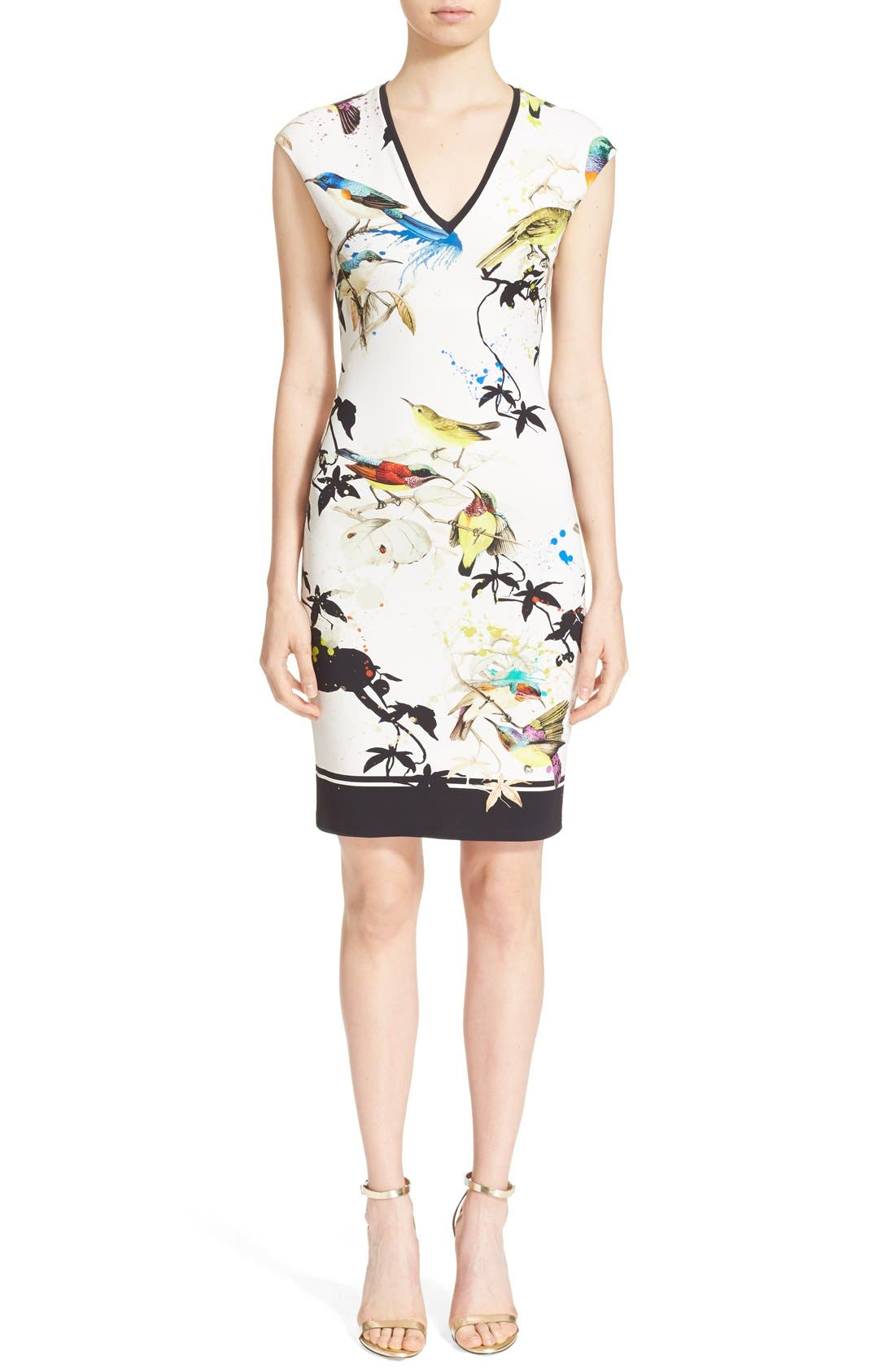 Alternate Image 1  - Roberto Cavalli Bird & Floral Print Jersey Dress
