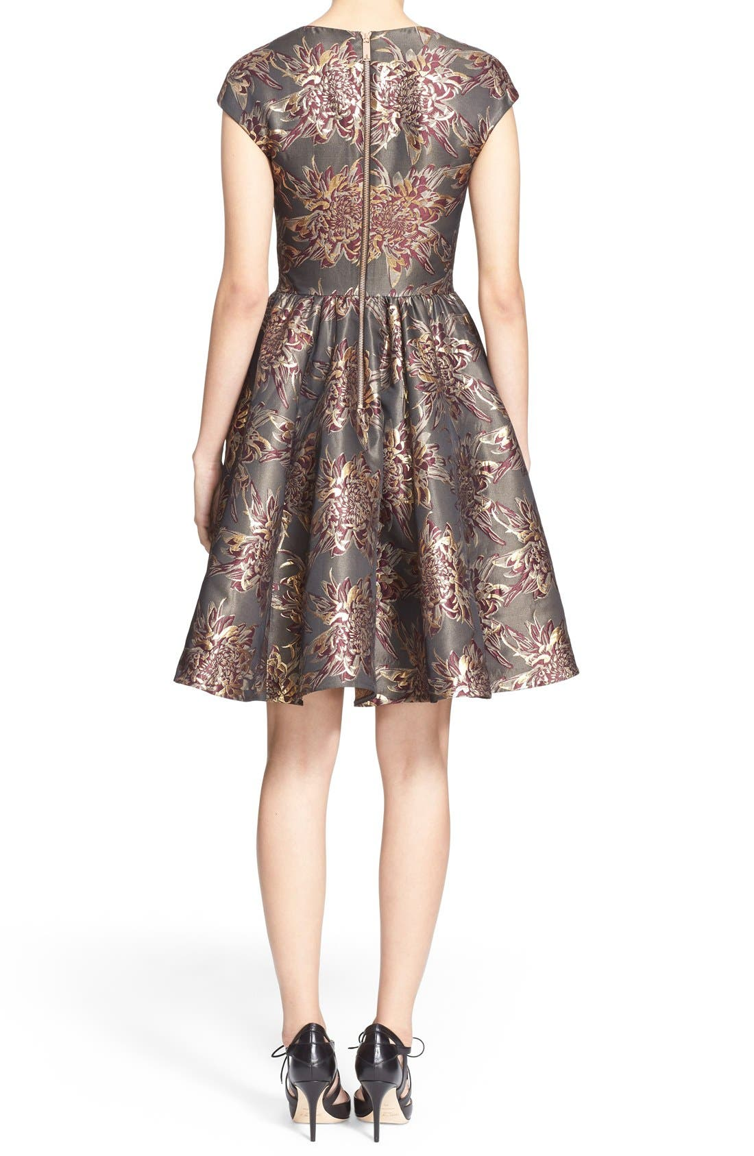 Alternate Image 2  - Ted Baker London 'Laurey' Metallic Floral Jacquard Fit & Flare Dress