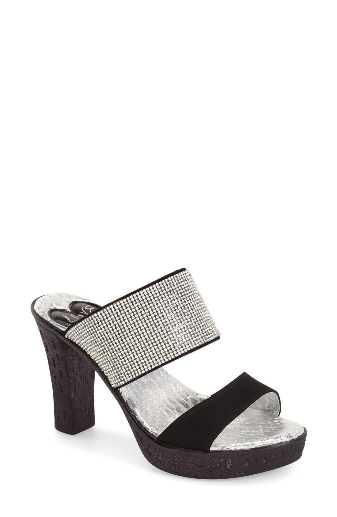 Main Image - Love and Liberty 'Dakota' Crystal Embellished Double Band Sandal (Women)