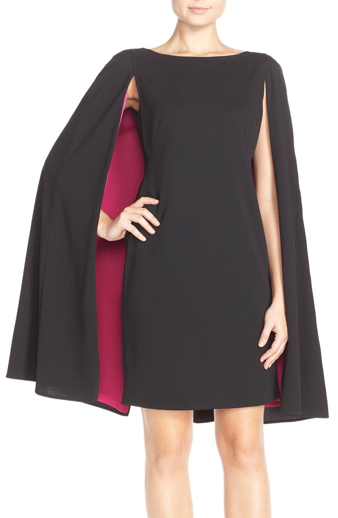 Main Image - Adrianna Papell Cape Sheath Crepe Dress