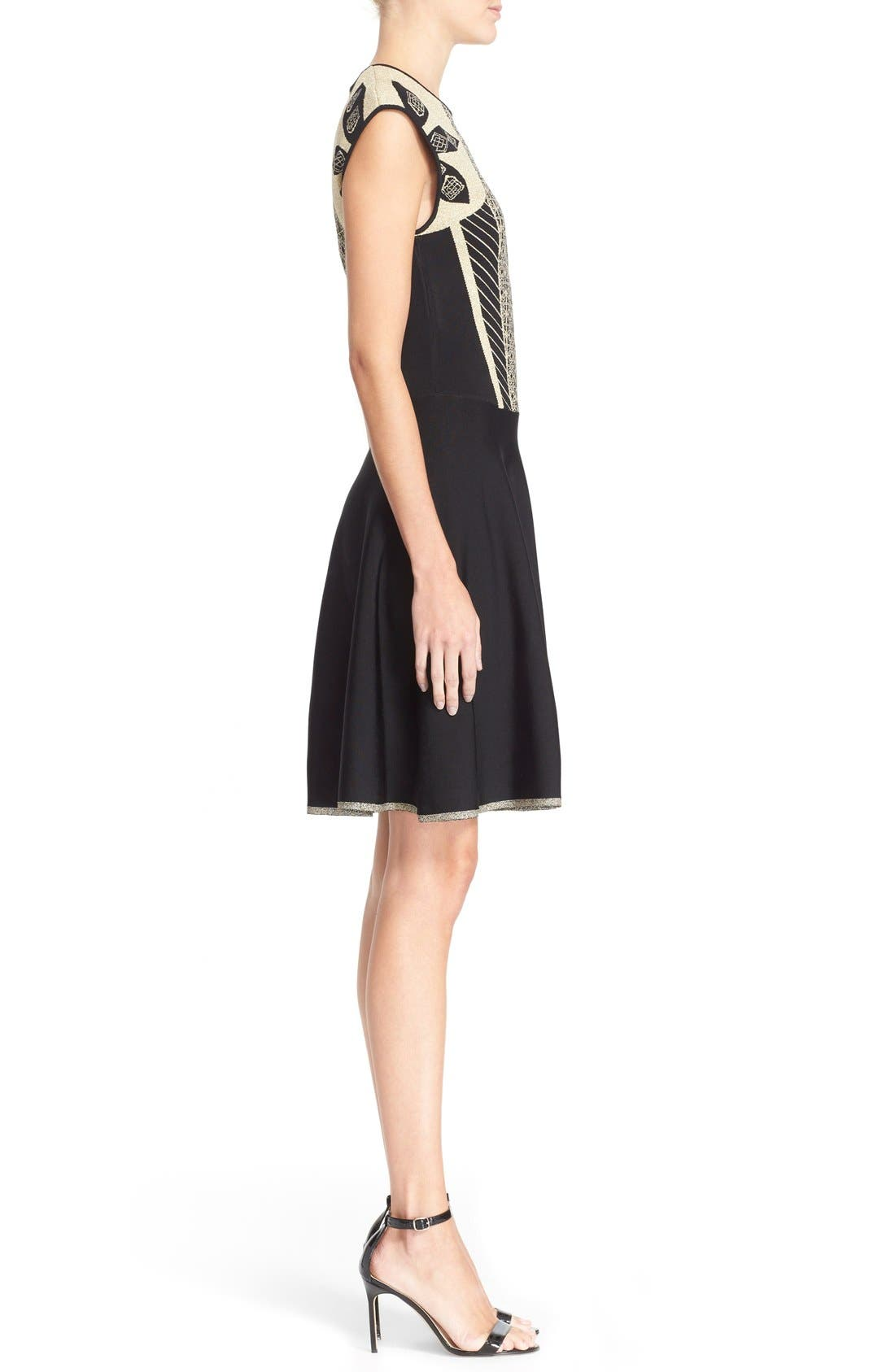 Alternate Image 3  - Ted Baker London 'Jenkin' Metallic Jacquard Fit & Flare Dress