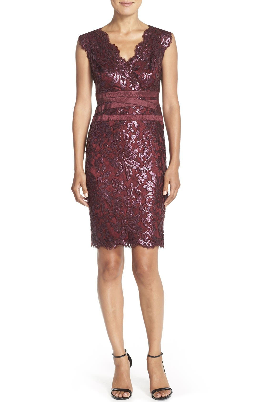 Main Image - Tadashi Shoji Sequin Lace Sheath Dress (Regular & Petite)