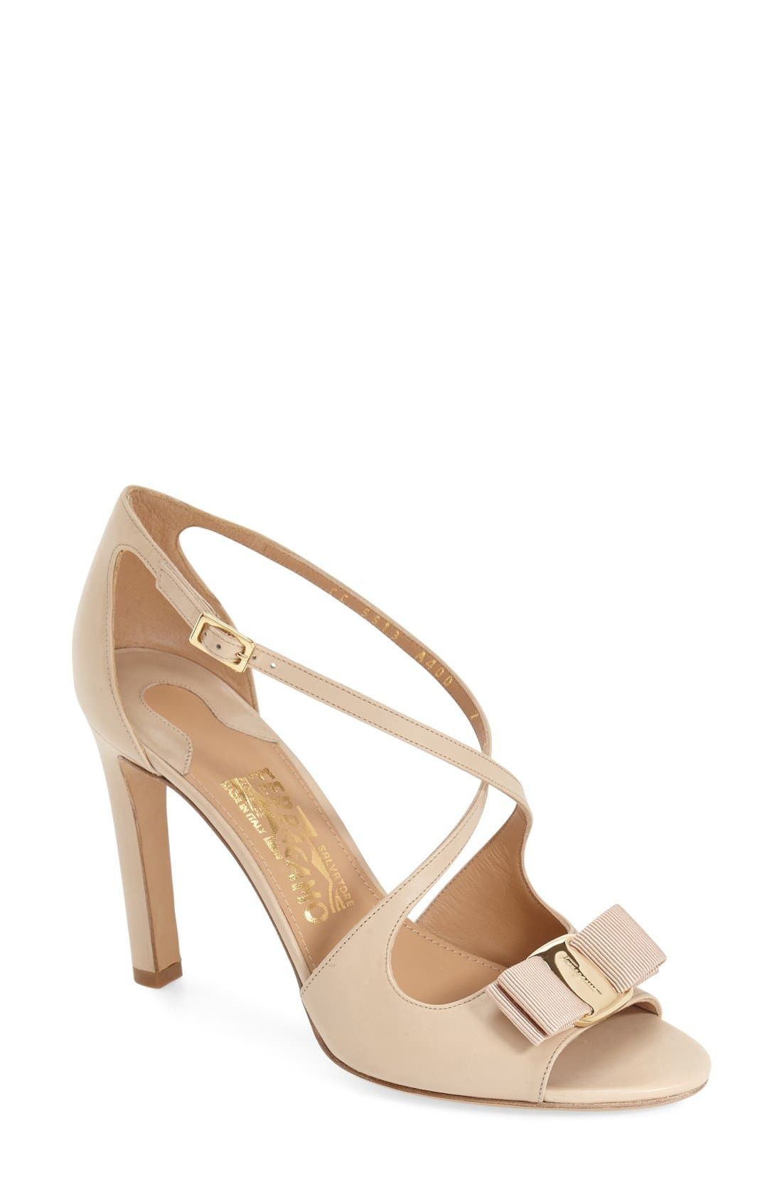 Alternate Image 1 Selected - Salvatore Ferragamo 'Gabrielle' Strappy Bow Trim Sandal (Women)