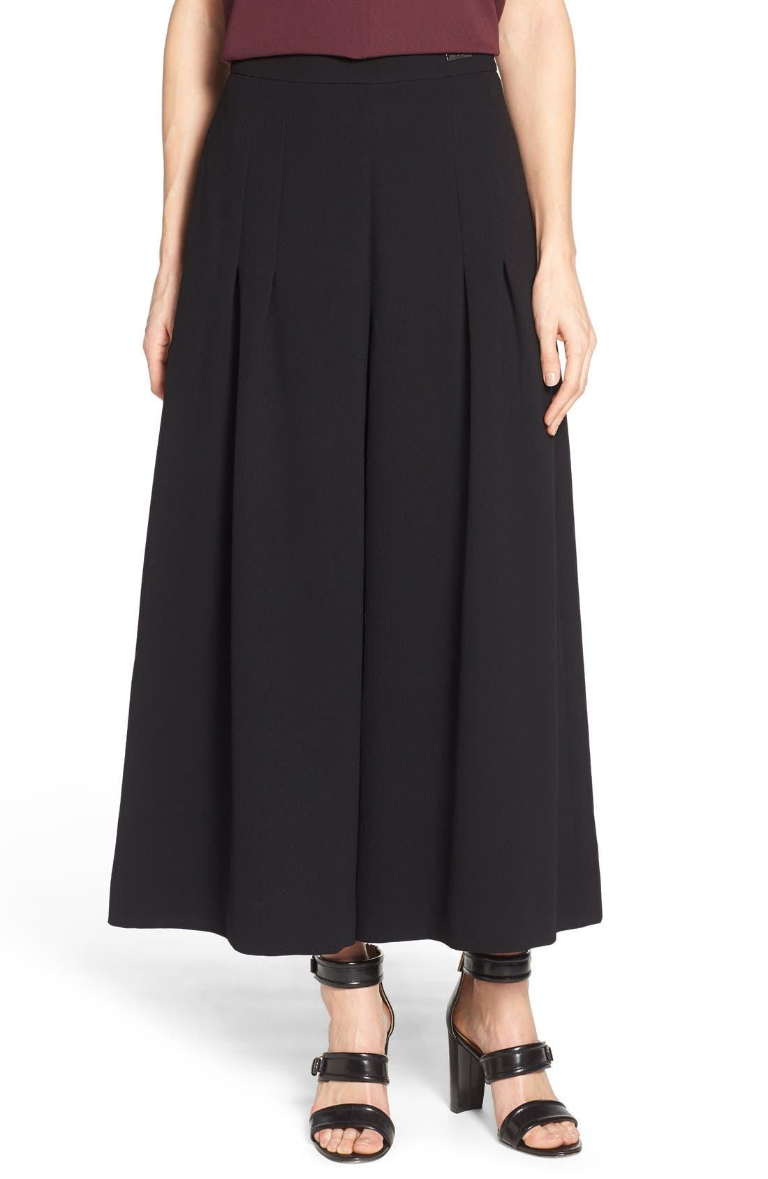 Alternate Image 1 Selected - Pink Tartan High Waist Pleat Culottes