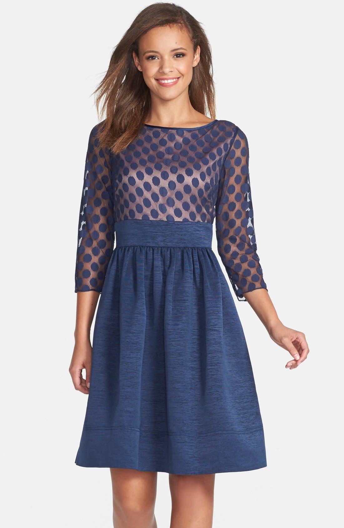 Eliza J Dot Mesh Bodice Fit & Flare Dress (Regular & Petite)