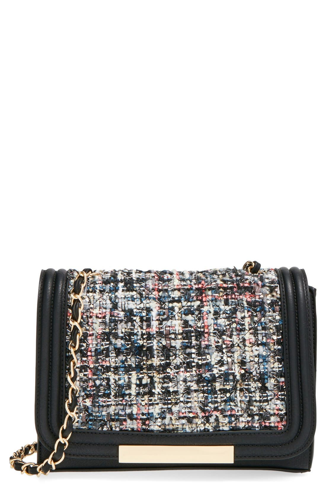 Main Image - Sole Society 'Celeste' Quilted Sequin Crossbody Bag