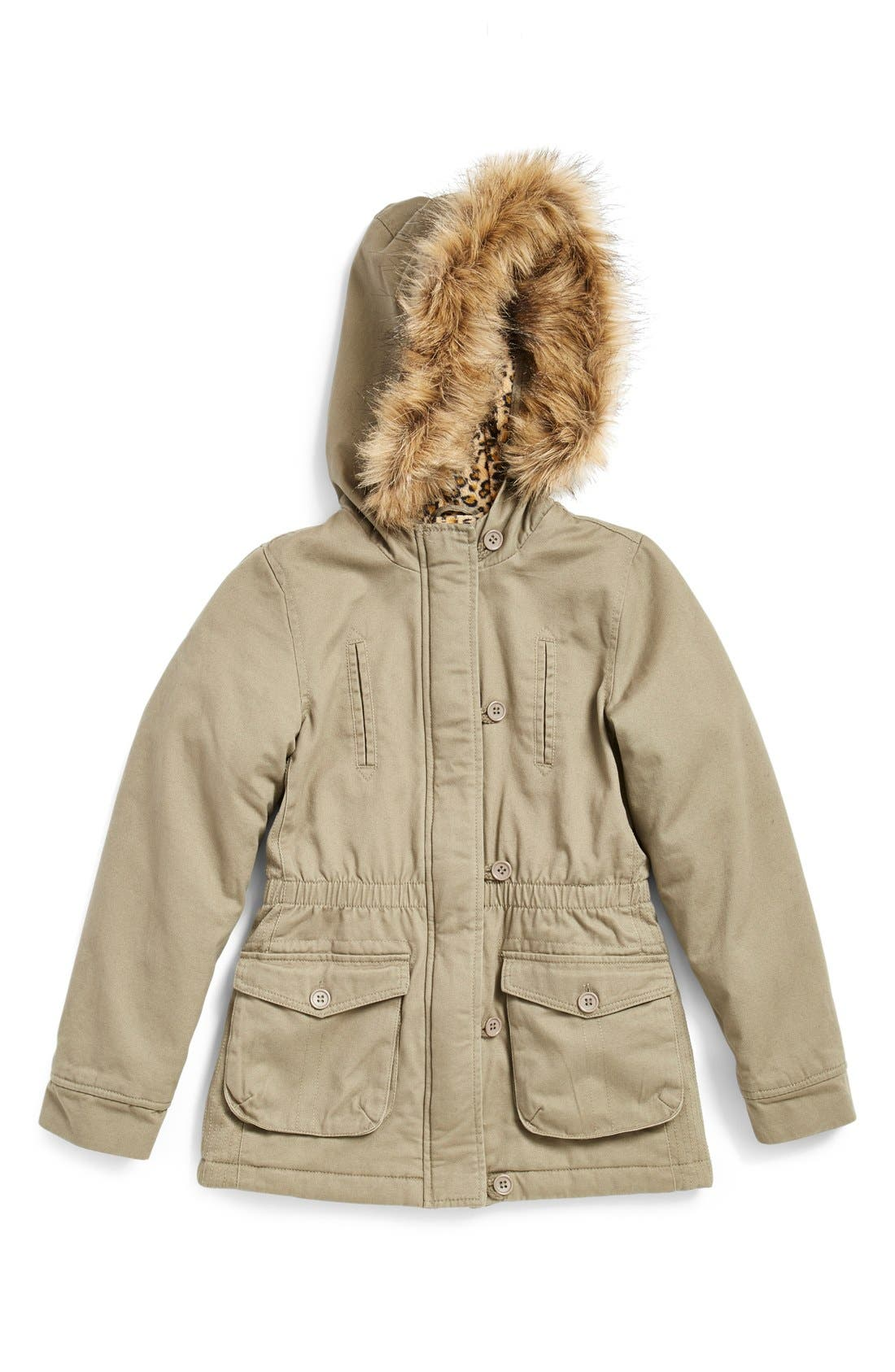 Coffee Shop Cotton Anorak with Faux Fur Trim (Big Girls)