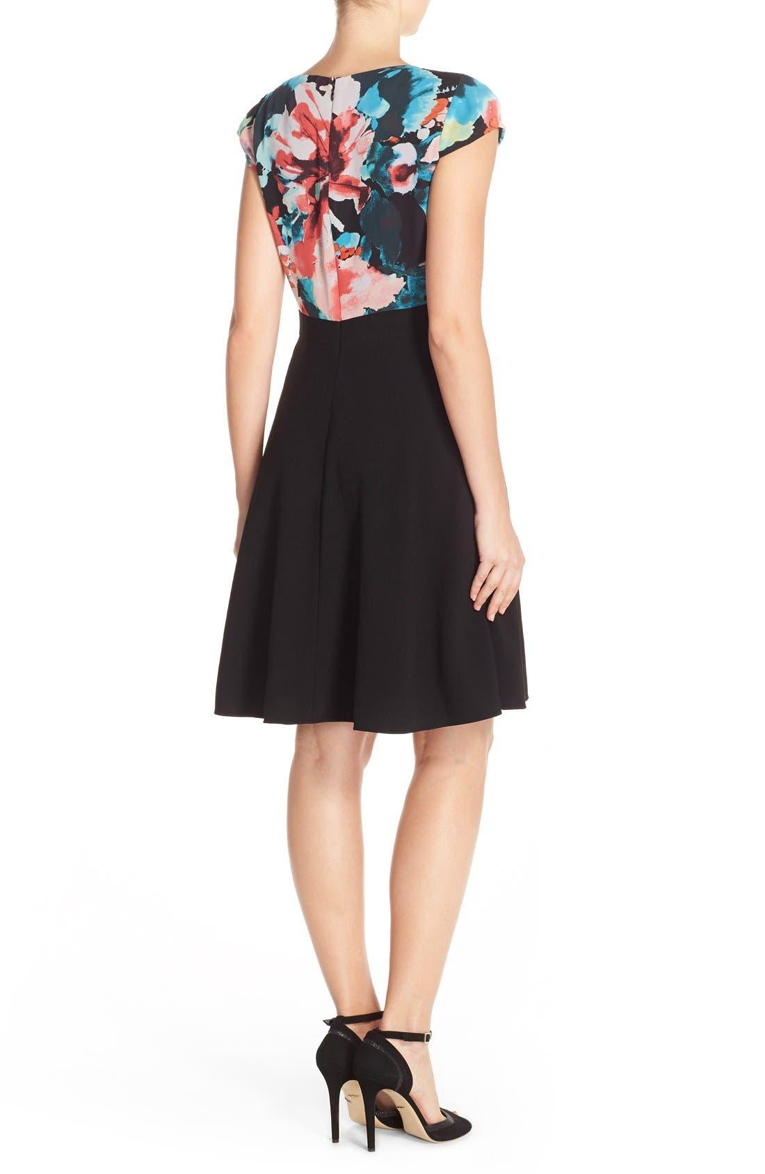 Alternate Image 2  - Tahari Floral Print Fit & Flare Dress (Regular & Petite)