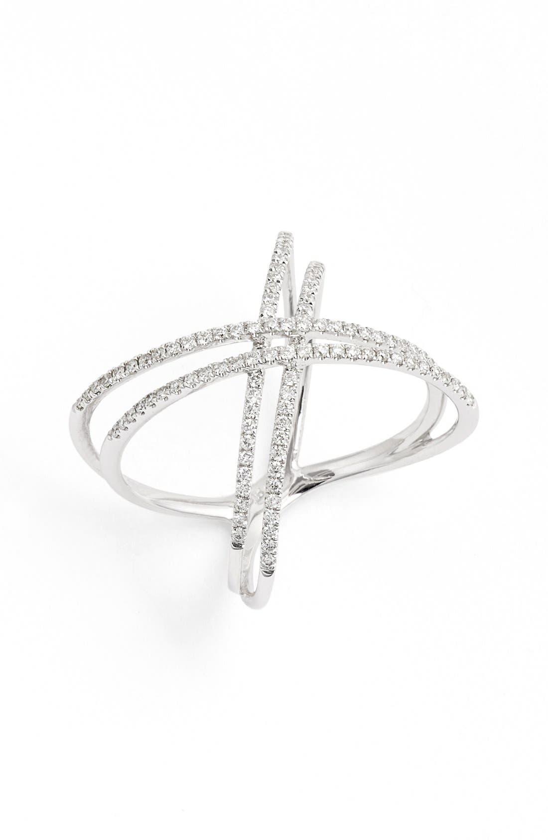 Bony Levy Double X Crossover Diamond Ring (Nordstrom Exclusive)