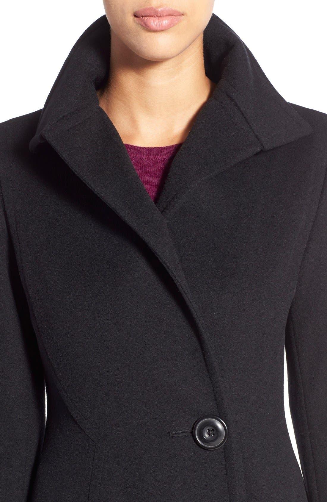 Alternate Image 4  - Vera Wang Herringbone Long Fit & Flare Coat