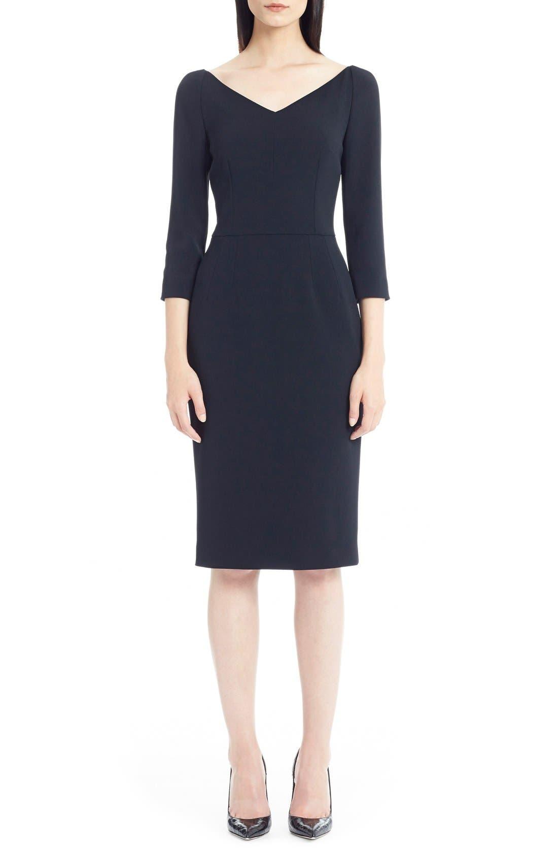 Alternate Image 1 Selected - Dolce&Gabbana V-Neck Cady Sheath Dress