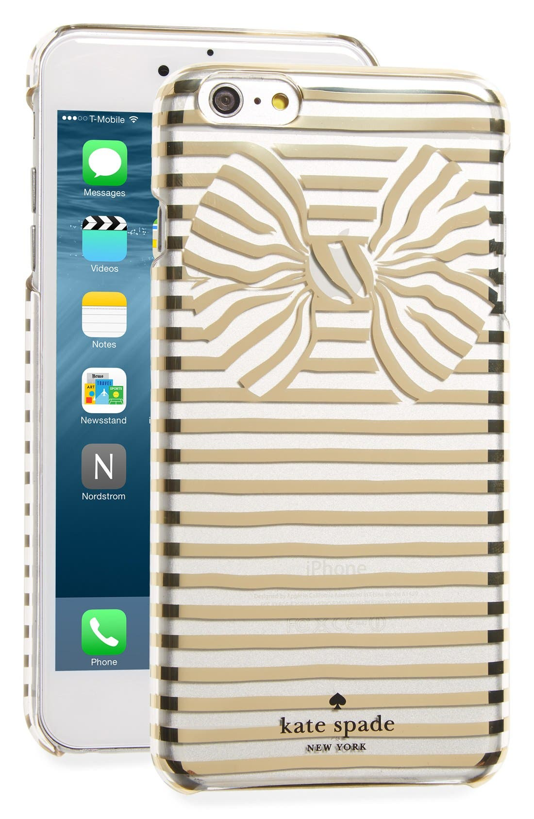 Alternate Image 1 Selected - kate spade new york stripe bow iPhone 6 Plus & 6s Plus case