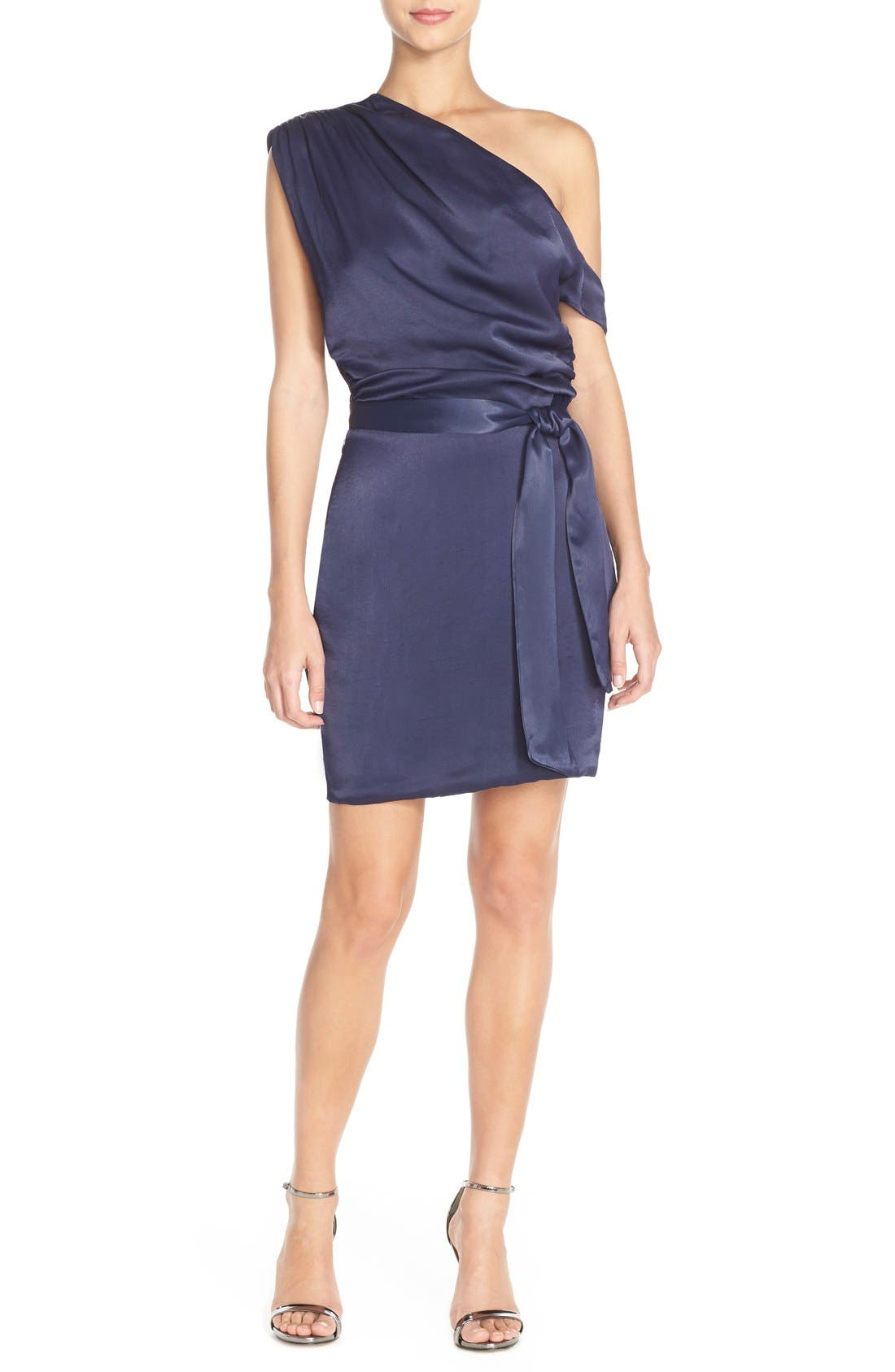 Alternate Image 3  - Misha Collection 'Trista' One Shoulder Satin Sheath Dress