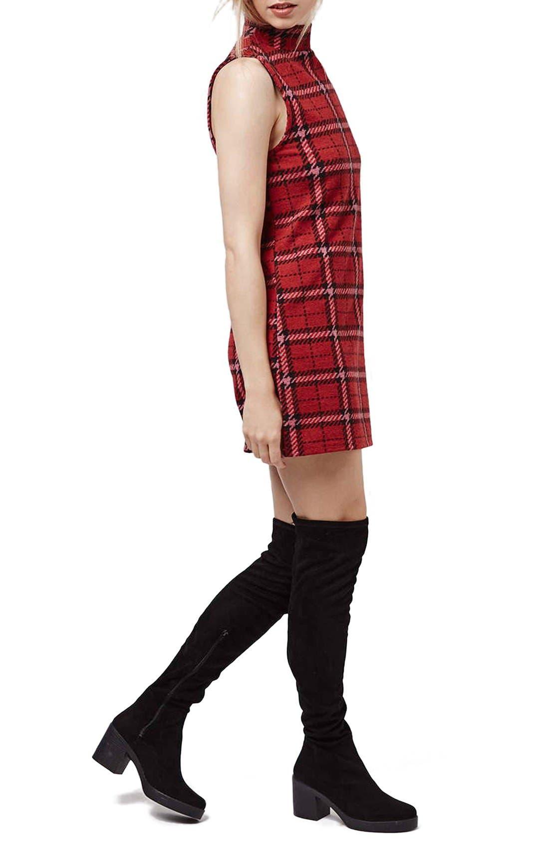 Alternate Image 2  - Topshop Plaid Funnel Neck Tunic Dress