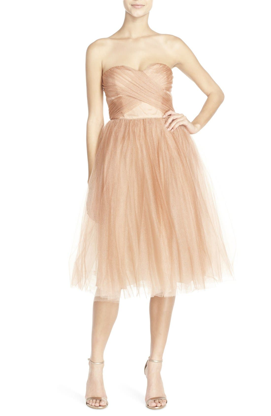 Alternate Image 1 Selected - Donna Morgan 'Kenna' Strapless Tulle Fit & Flare Dress