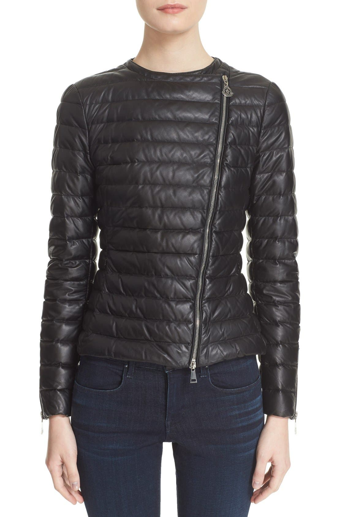 Moncler 'Palomete' Lambskin Leather Down Moto Jacket