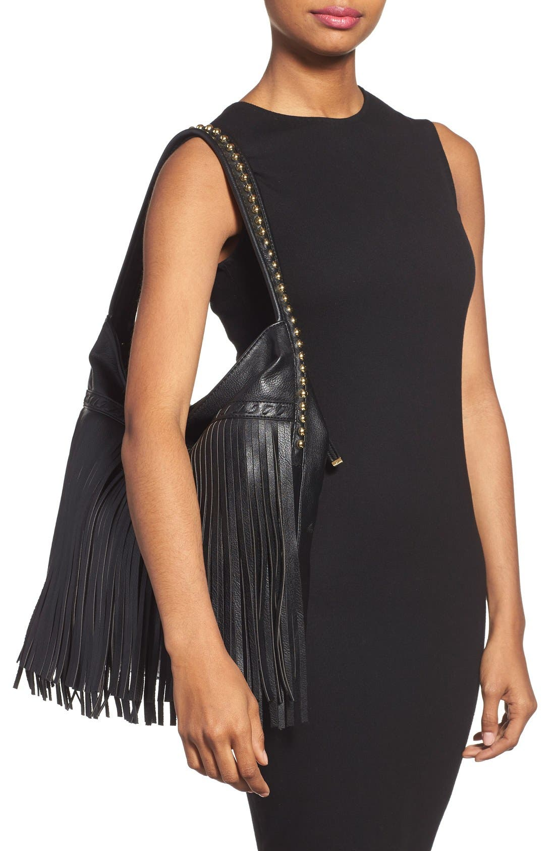 Alternate Image 2  - Big Buddha 'JGiada' Fringe Faux Leather Ball Hobo