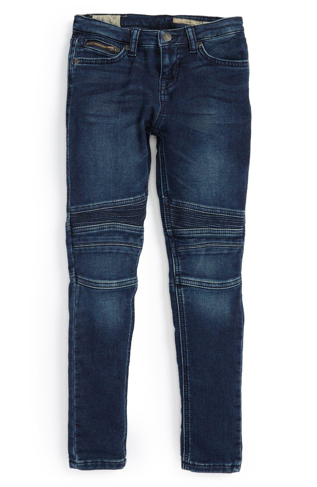Alternate Image 1 Selected - Ralph Lauren Moto Skinny Jeans (Toddler Girls & Little Girls)