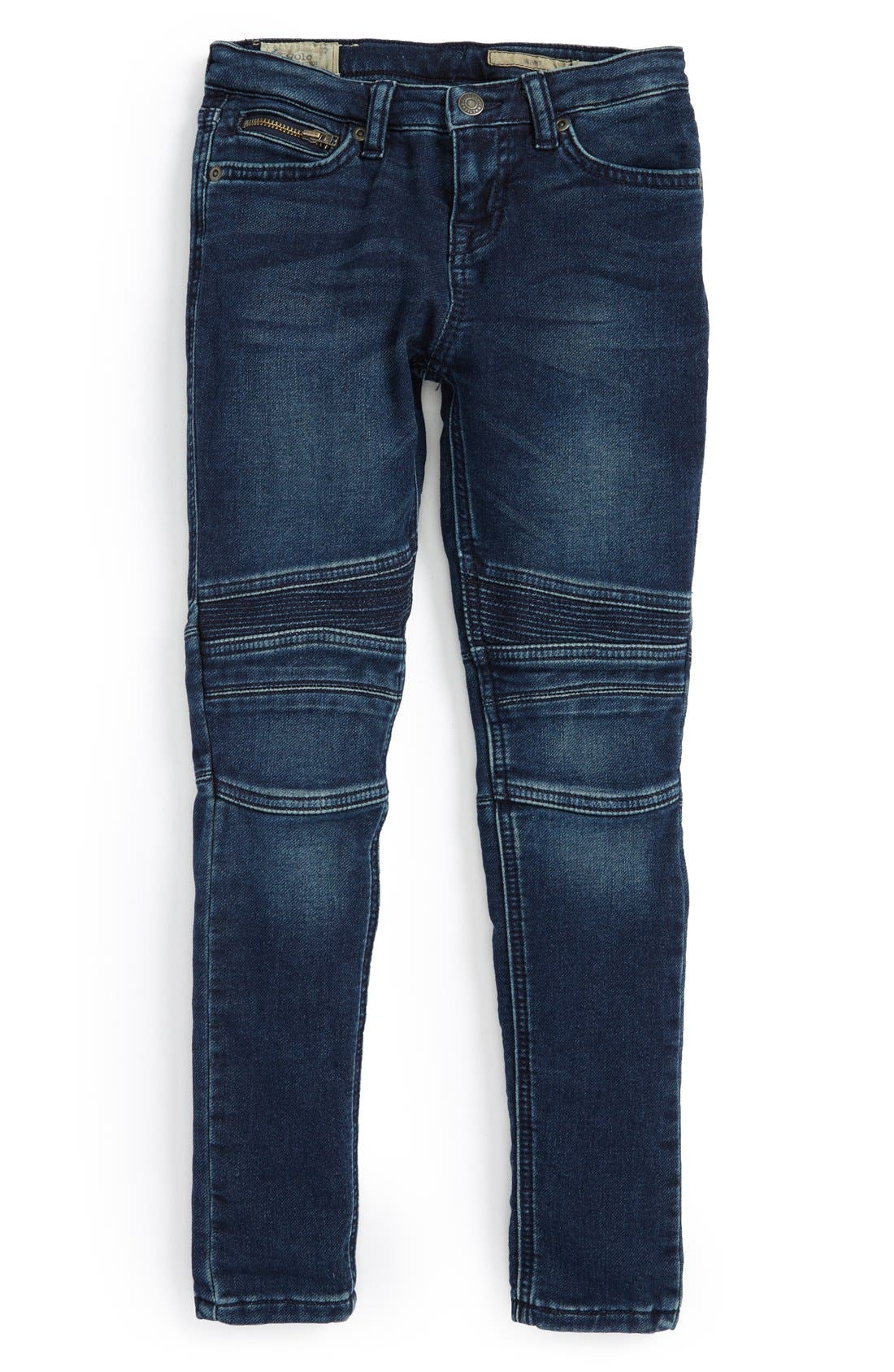 Main Image - Ralph Lauren Moto Skinny Jeans (Toddler Girls & Little Girls)