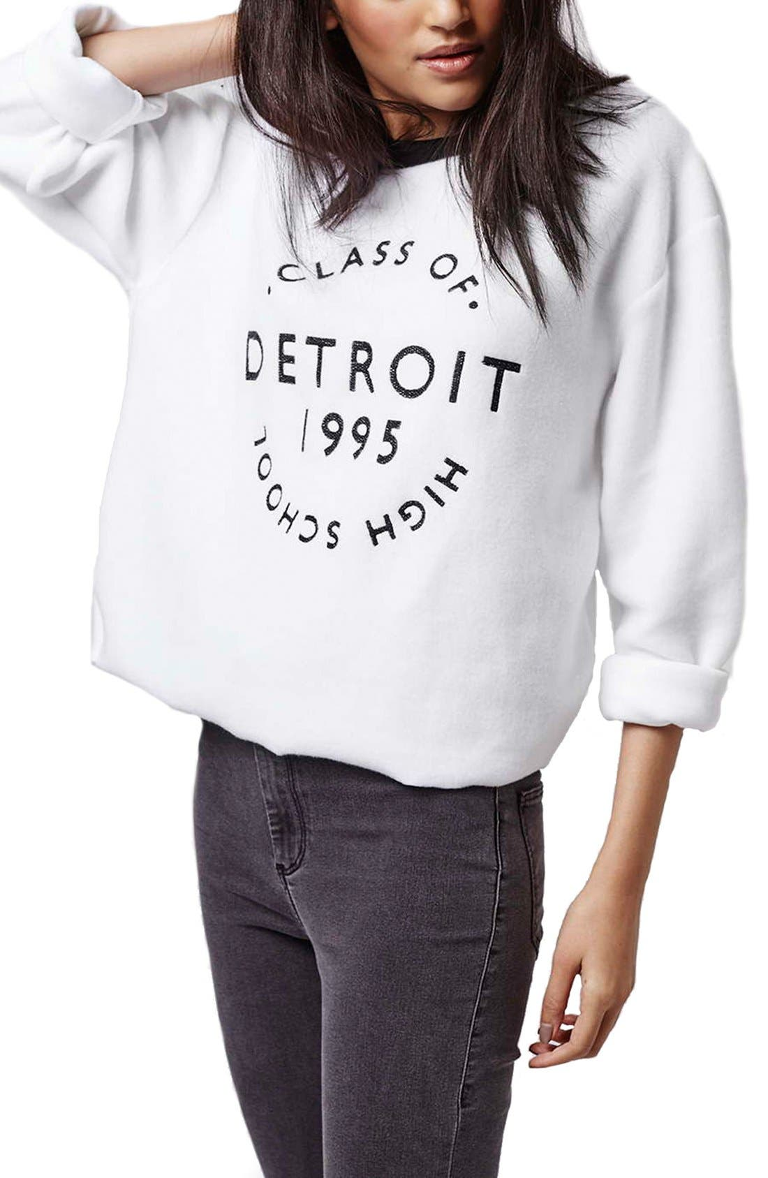 Alternate Image 1 Selected - Topshop 'Detroit' Brushed Crewneck Sweatshirt
