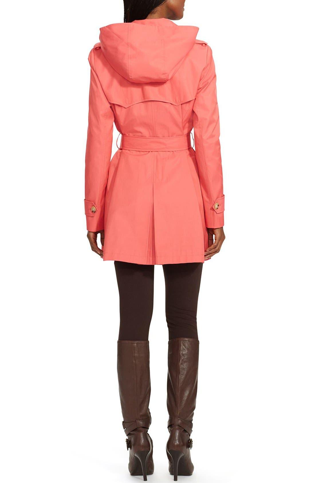 Alternate Image 2  - Lauren Ralph Lauren Belted Hooded Raincoat