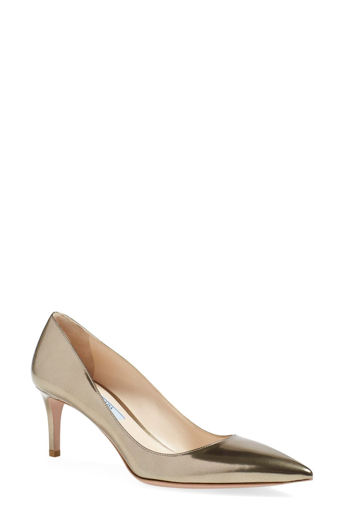 PRADA Metallic Pointy Toe Pump