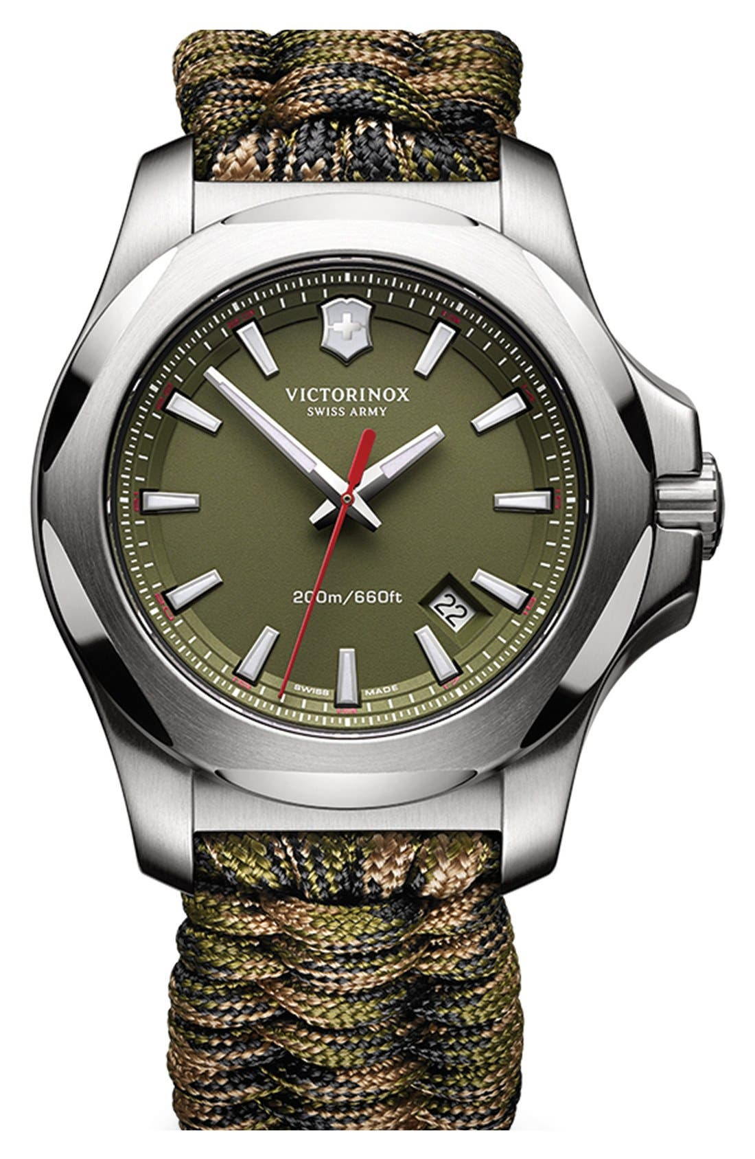 Alternate Image 1 Selected - Victorinox Swiss Army® 'I.N.O.X.' Paracord Strap Watch, 43mm