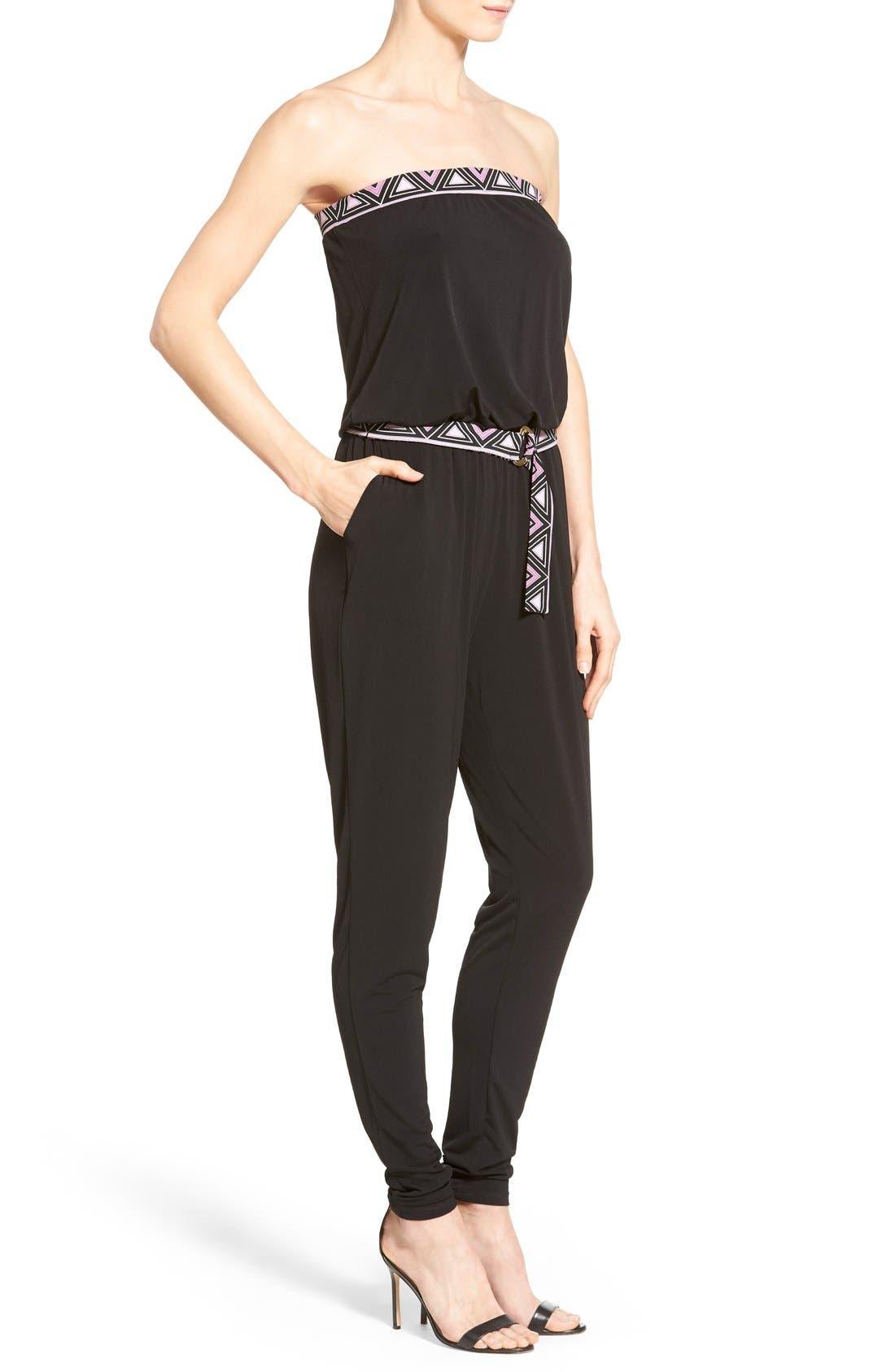 Alternate Image 3  - MICHAEL Michael Kors Belted Border Print Jersey Strapless Jumpsuit