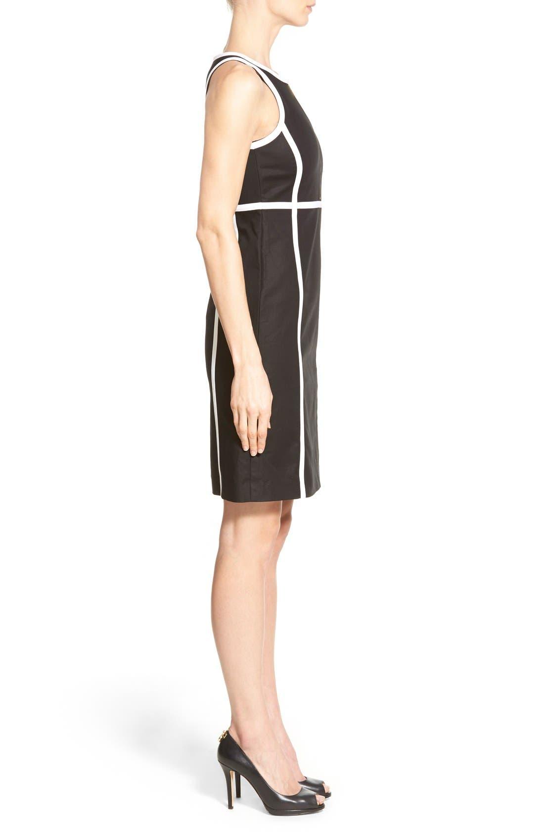 Alternate Image 3  - MICHAEL Michael Kors Contrast Trim Front Zip Sheath Dress (Regular & Petite)