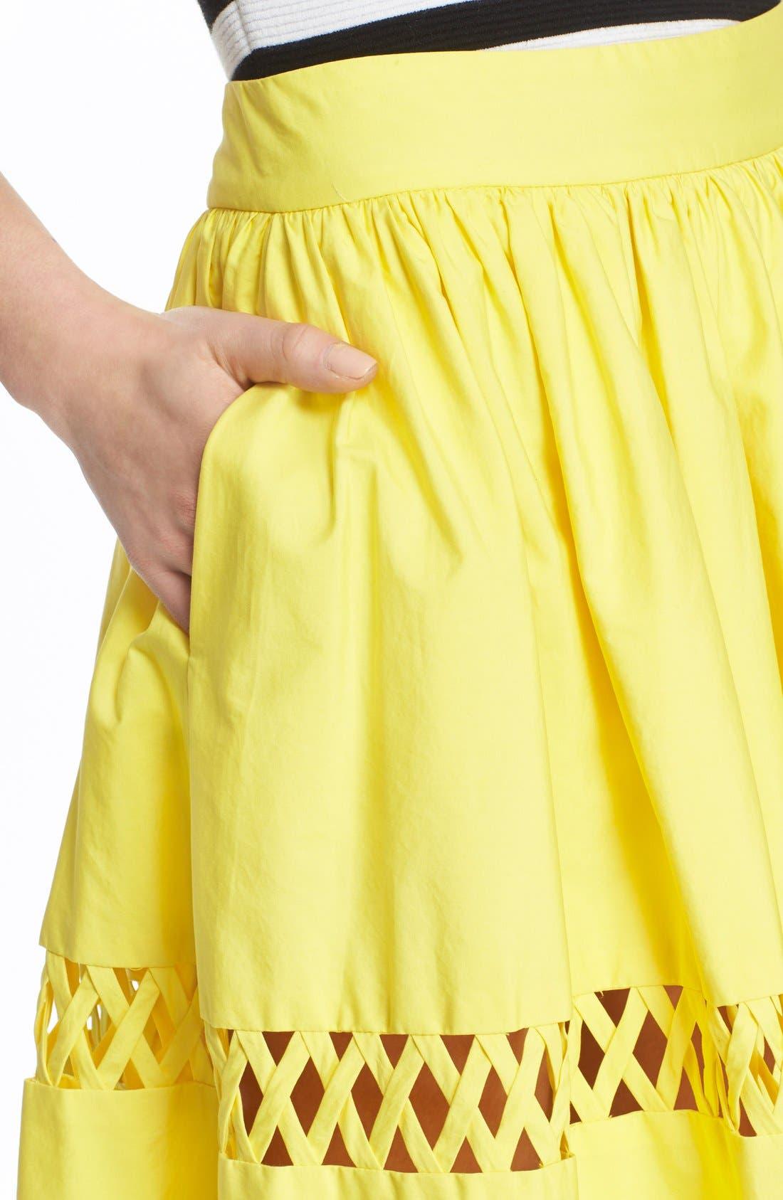 Alternate Image 4  - Alice + Olivia 'Morina' Lattice Trim Cotton Skirt